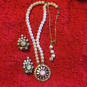 Vintage AB crystal necklace and earrings